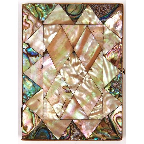 469 - A Victorian mother of pearl and abalone shell card case, 8 x 11cm