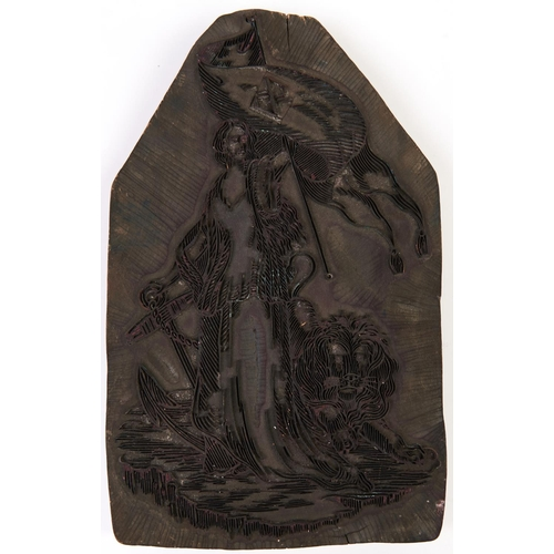 477 - A Victorian calico carved wood printing block, 21.5 x 32.5cm