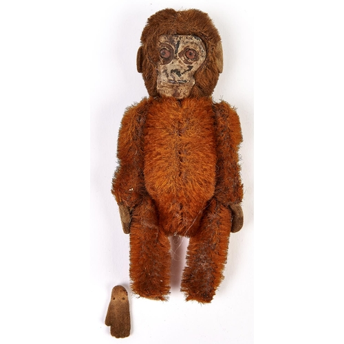 482 - A Schuco mohair jointed monkey perfume bottle, c1920, 11.6cm h