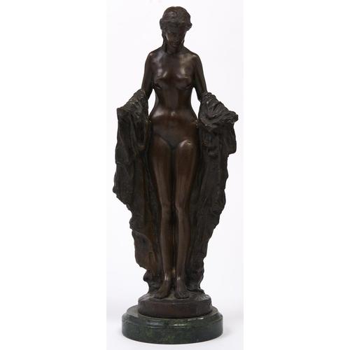 489 - A bronze patinated brass sculpture of a woman, after Rubin, 47cm h overall