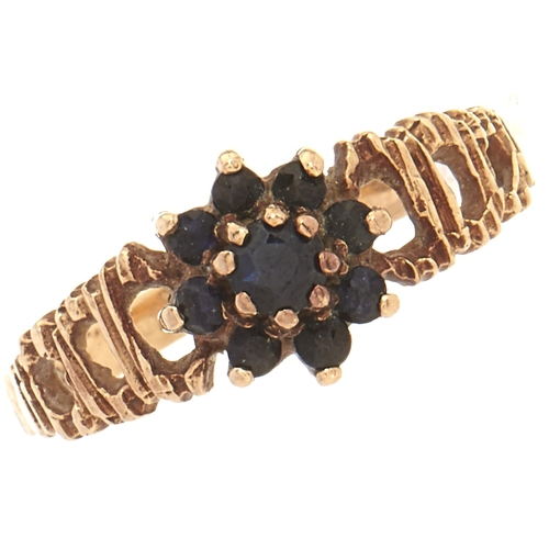 49 - A 9ct gold sapphire cluster ring, 1.7g, size J