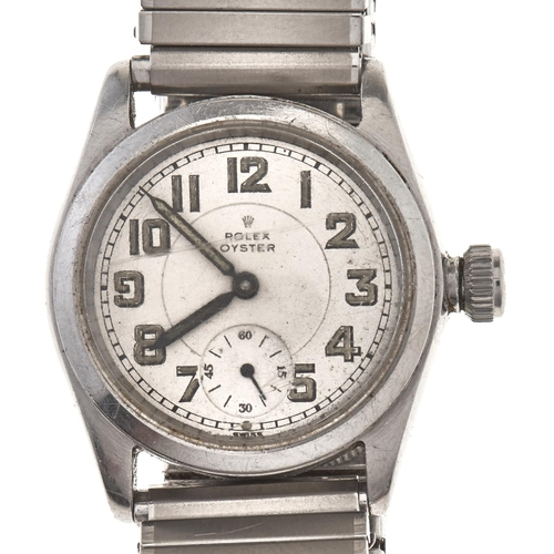 563 - A Rolex stainless steel wristwatch, Oyster, pre 1955,10½ H movement, numbered on case back 77804, 2...