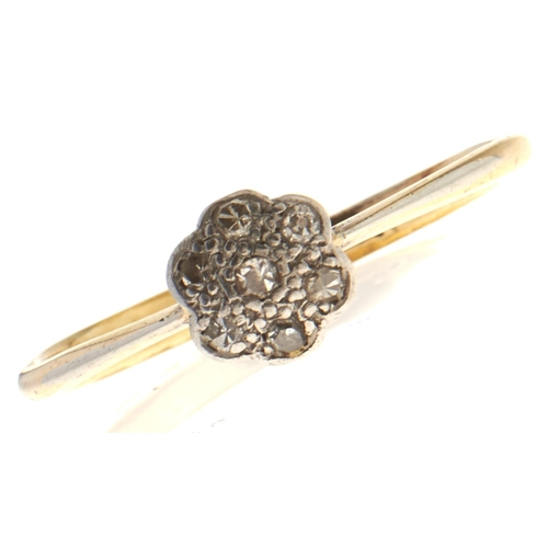 571 - A Victorian paste brooch, mid 19th c, in gold and a diamond ring in gold, 9g (2)