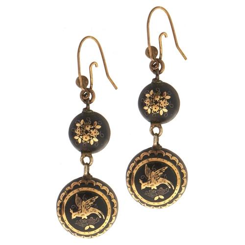 572 - A pair of Victorian pique earrings, c1870, 39mm excluding wire loop