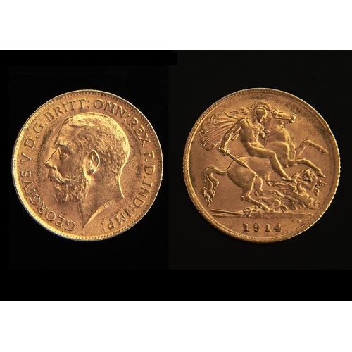 586 - Gold Coin. Half Sovereign 1914