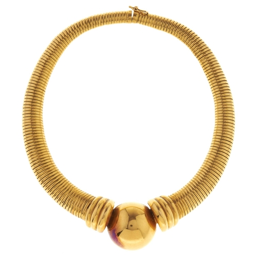 592 - A French gold collar, c1970, with central hemispherical orb, 31.5cm, control marks for 0.750 standar...