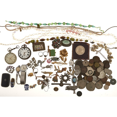 599 - Miscellaneous antique and vintage costume jewellery, to include a silver lever watch, lighters, coin...