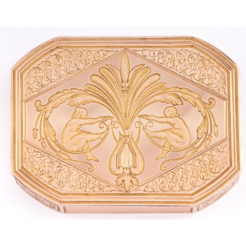 617 - A Swiss two colour gold snuff box, early 19th c, engine turned, chased and engraved with putti, a ly...