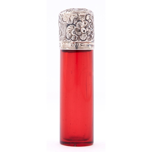 627 - A Victorian silver mounted cylindrical ruby glass scent bottle, with embossed cap, 65mm h, maker's m...