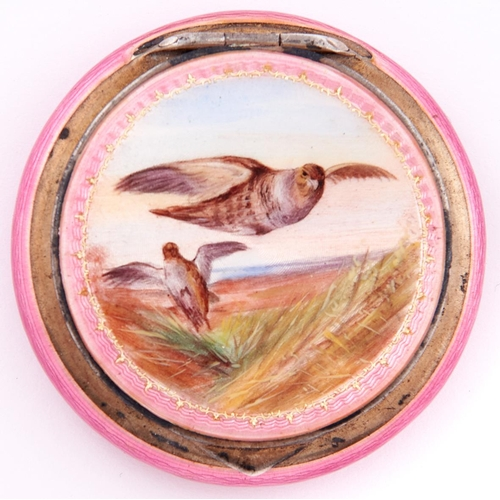 629 - A continental silver gilt and enamel compact, the lid finely painted with flighting grouse reserved ...