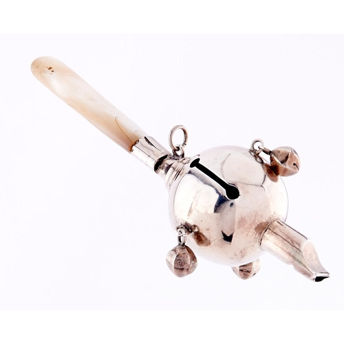 635 - A silver baby's rattle-whistle mother of pearl teether, 13.5cm l, marks rubbed