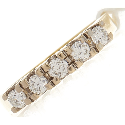 64 - A five stone diamond ring, in gold marked 585, 0.4ct approx., 4.6g, size P