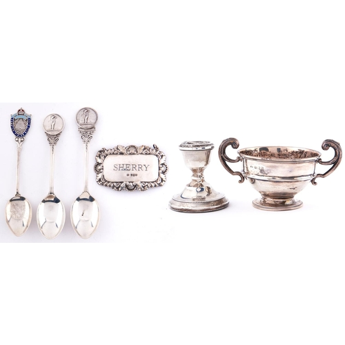 720 - A George V miniature silver trophy cup, 70mm h, by J W Tiptaft & Son Ltd, Birmingham 1933 and se...