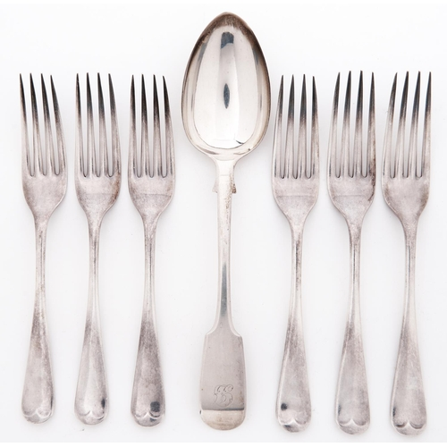 724 - A set of six George VI silver table forks, Old English pattern by Viners Ltd, Sheffield 1940 and a V...