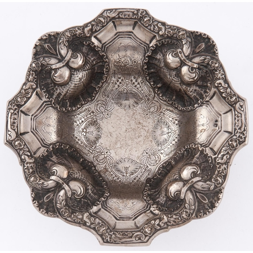 728 - A Portuguese silver bowl, pierced and engraved with shells and strapwork, on domed foot, 21.5cm diam...
