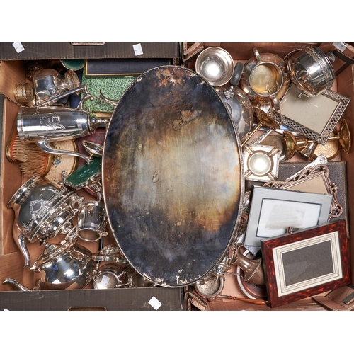 743A - Miscellaneous plated ware, including a three piece coffee service, cased flatware, napkin rings and ...