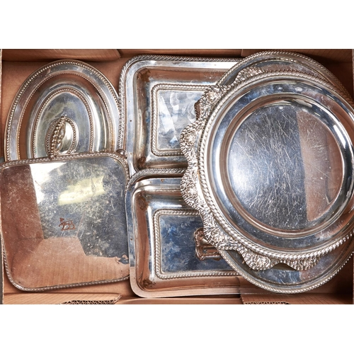 744 - A pair of EPNS oblong entree dishes and covers, 28 x 21cm, another similar and four various dishes a...