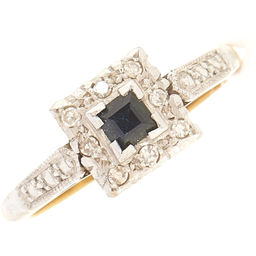 75 - A sapphire and diamond ring, gold hoop marked 18ct, 3.8g, size O½