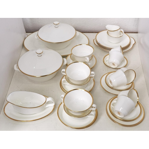 750 - A Minton Horizon pattern part breakfast service, comprising six two handled soup bowls on stands, si...