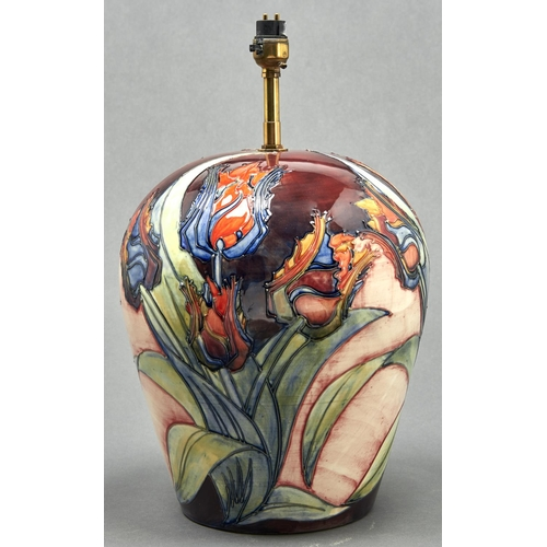 757 - A Moorcroft Red Tulip oviform lamp, late 20th c, 31cm h excluding fitment, impressed mark...