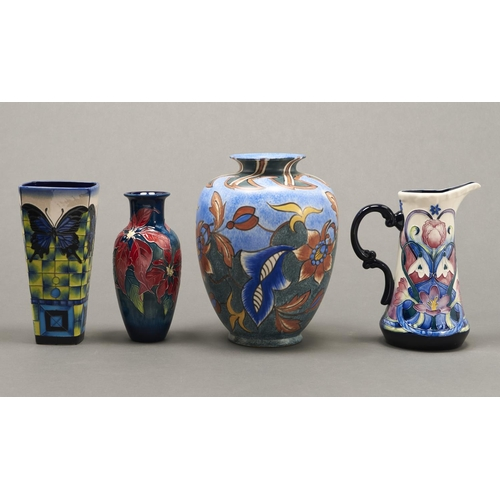 760 - A Clews & Co Chameleon ware vase, 1914-1939, 27cm h, printed mark, a Moorcroft style Old Tupton ...