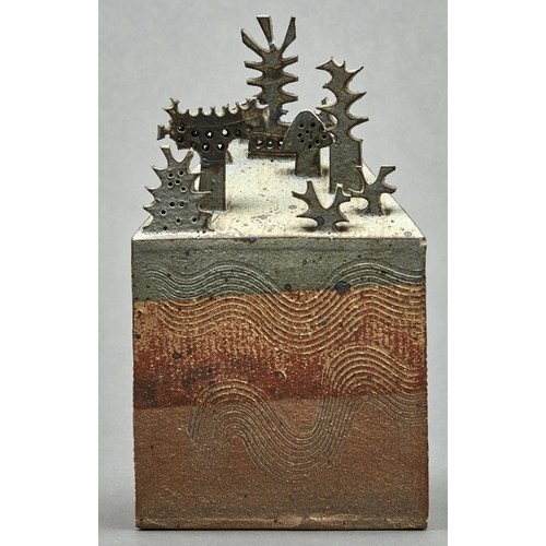 766 - A studio pottery slab built stoneware sculpture of a garden by Bryan Newman (1935-2019), c1960, the ...