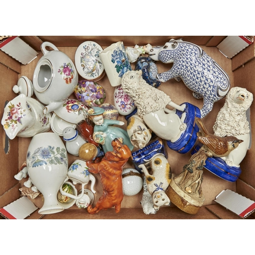 773 - Miscellaneous miniature and other ornamental ceramics, to include a Royal Doulton cocker spaniel and...