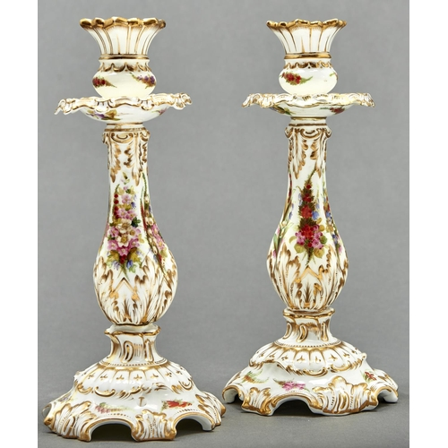 790 - A rare pair of Coalport candlesticks, c1875, painted with flowers and gilt, 25.5cm h, printed mark, ...