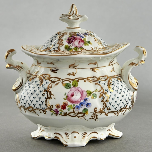 794 - A Coalport sugar box and cover, c1830, painted with roses and other flowers in gilt reserves, 15.5cm...