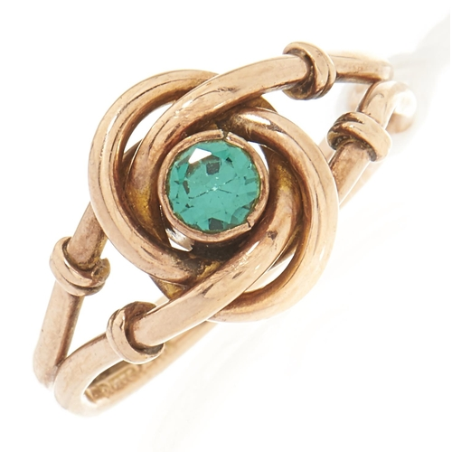 80 - A 9ct gold green stone ring, 3g, size M