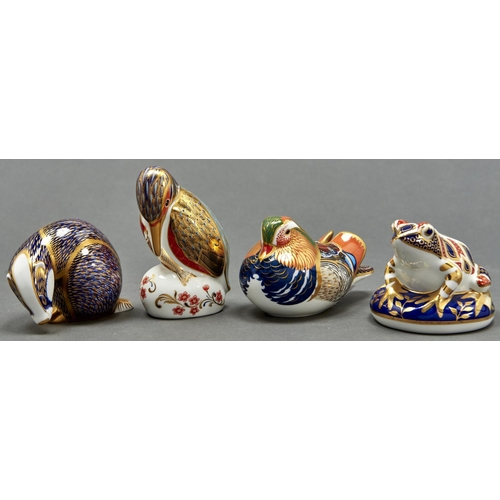 807 - Four Royal Crown Derby paperweights, comprising Frog, Badger, Kingfisher and Mandarin Duck, various ...