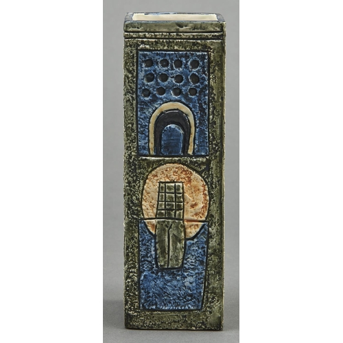 823 - A Troika pottery square vase, c1970, 22cm h, painted mark and initials of the decorator Annette Walt...
