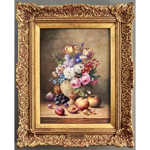 832 - An English porcelain plaque painted by Milwyn Holloway (1940 - 2020) with fruit and flowers, signed,...