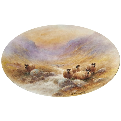 833 - An English porcelain oval plaque painted by Milwyn Holloway (1940-2020) with sheep by a Highland bur...