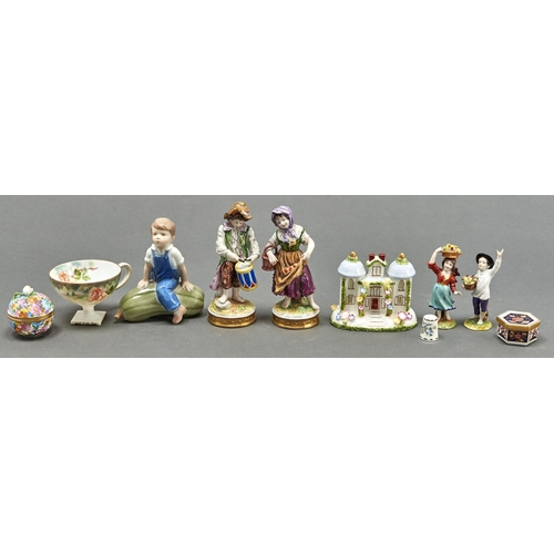835 - A pair of Volkstedt figures of children, second half 20th c, on gilt base, 13.5cm h, printed mark, a...