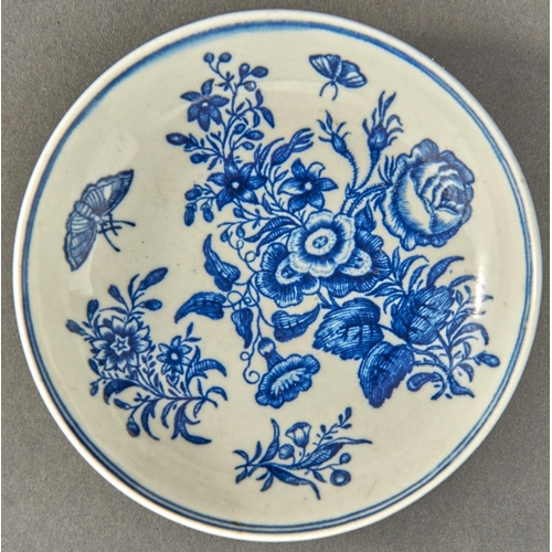 840 - A Worcester blue and white saucer, c1770, transfer printed in underglaze blue with the Three Flowers...