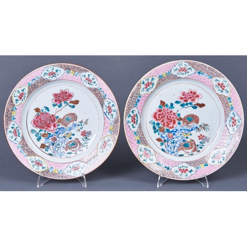 855 - Two Chinese famille rose plates, Qing dynasty, Qianlong period, painted with quail, peony and other ...