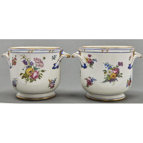 869 - A pair of Sevres seaux a bouteille, 1791, one painted by Gilbert Drouet, the other by Henri-Germain ...