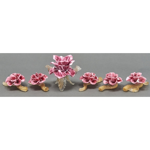 875 - A set of six Venetian glass flower table ornaments, second half 20th c, in the form of a rose, inclu...