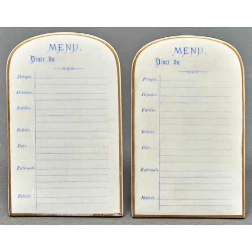 876 - A pair of late Victorian porcelain menu tablets, c1900, the biscuit front printed in blue, 13.5cm h,...