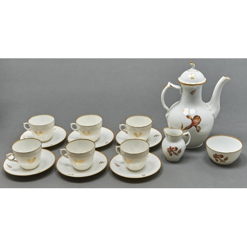 878 - A Royal Copenhagen Brown Iris pattern coffee service, 1960, coffee pot and cover 21.5cm h, printed a...