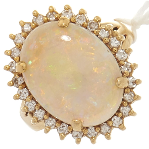 89 - An 18ct gold opal and diamond ring, 0.1g, size O