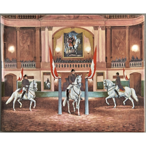 896 - A Continental porcelain plaque, 20th c, printed and painted with Lipizzaner horses in the Spanish Ri...