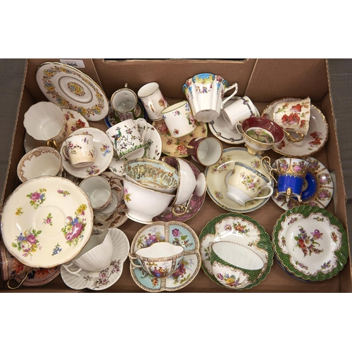 906 - A quantity of Continental cabinet cups and decorative coffee and teacups, etc, to include Dresden, N...