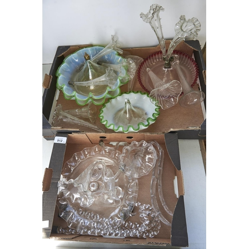 912 - The bases of four Victorian green and semi opalescent or cranberry glass flower stands and miscellan...