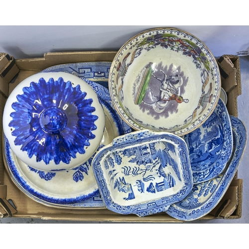 945 - Various Victorian and later Willow pattern dinner ware, including meat plates, drainers, tureen base...
