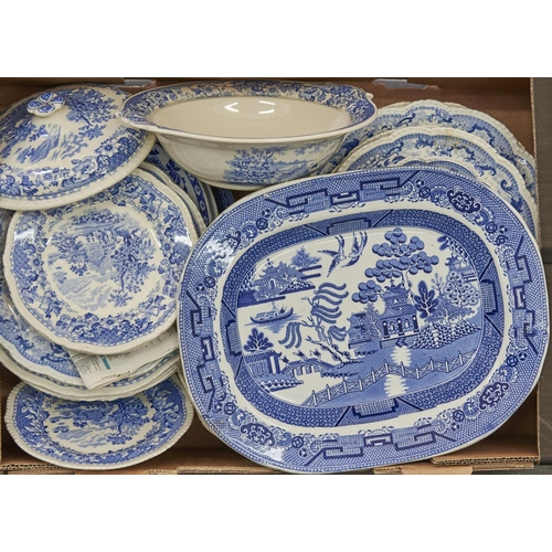 950 - A small quantity of Pekin Sketches pattern blue and white dinner ware; together with a quantity of S...