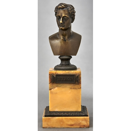 969 - A French bronze bust of Lord Byron, c1840, on milled socle, light brown patina rubbed slightly, on b...