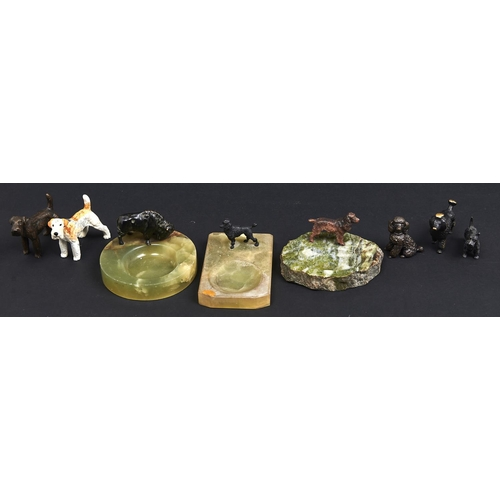 976 - Seven various miniature patinated or cold painted bronze sculptures of dogs and other animals,three...