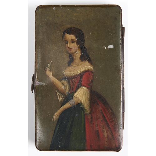 993 - A japanned tinplate snuff box, 19th c, the lid painted with a three quarter length portrait of a lad...